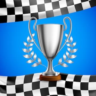 Poster realistico di silver winner trophy