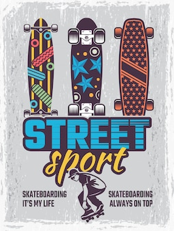 Poster retrò con illustrazioni di skateboard colorati