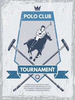 Poster retrò del club di polo.