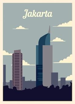 Poster retrò jakarta skyline della città. annata di jakarta