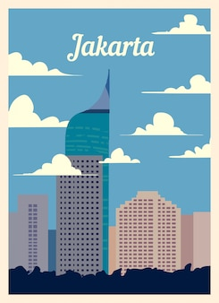 Poster retrò jakarta skyline della città.