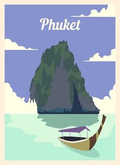 Poster retrò skyline della città di phuket