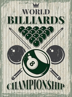 Poster retrò sport per club da biliardo.