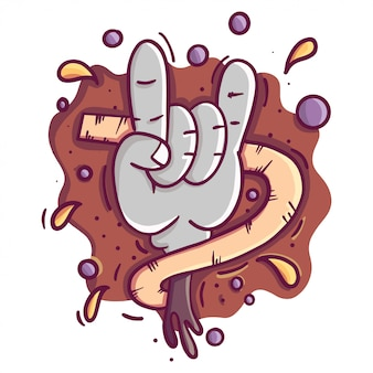 Poster rock'n'rolll con teschio, rosa, chitarra