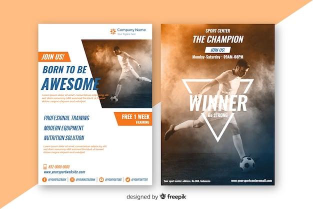 Poster sportivo modello con immagine chiaroscuro