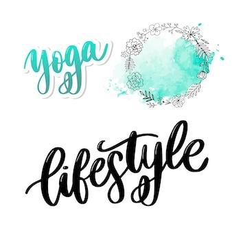 Poster stile di vita sano poster o banner con disegnati a mano frutti e scritte testo stile di vita sano su sfondo verde.