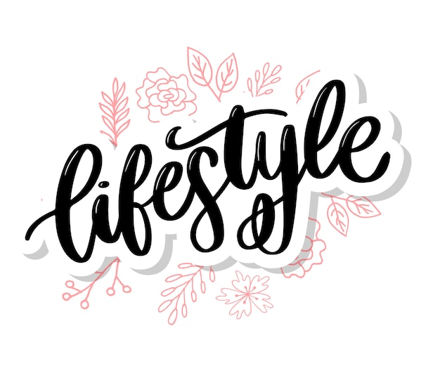 Poster stile di vita sano poster o banner con disegnati a mano frutti e scritte testo stile di vita sano