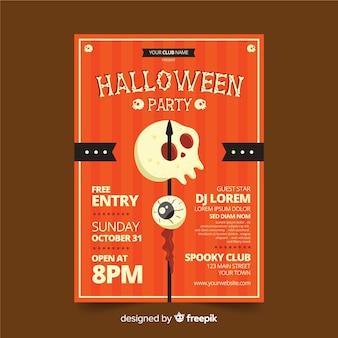 Poster teschio vintage per la festa di halloween