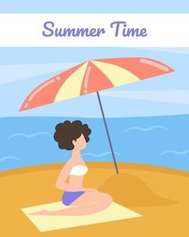 Poster turistico con parole summer time cartoon