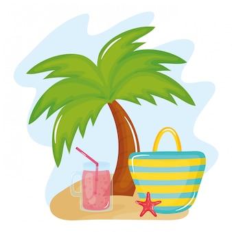 Poster vacanze estive con borsa a mano e icone
