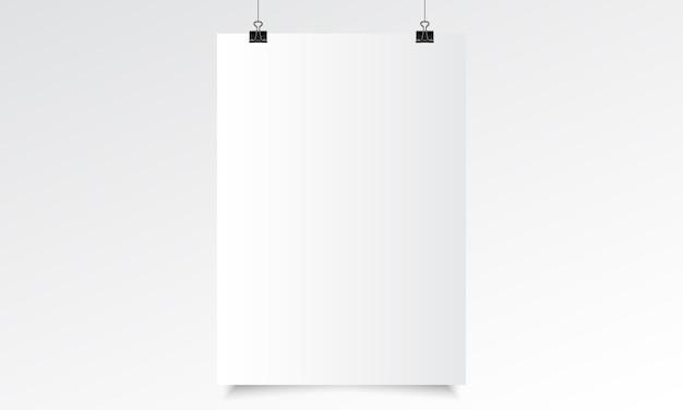 Poster verticale realistico mock up con appeso. vettore realistico di carta bianca con impiccagione