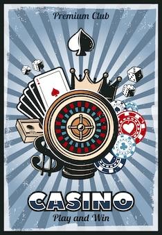 Poster vintage colorato di gioco d'azzardo