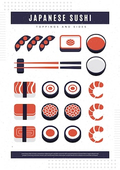 Poster vintage con pesce sushi