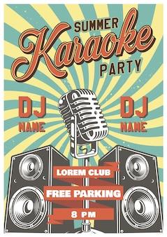 Poster vintage di karaoke