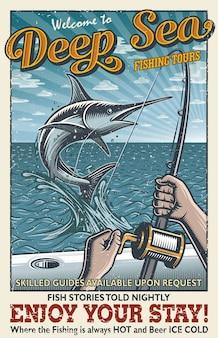 Poster vintage di pesca d'altura