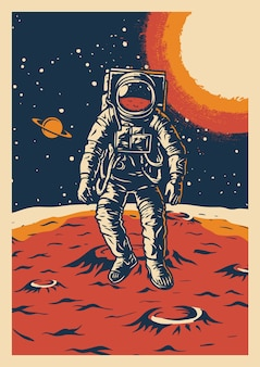 Poster vintage di ricerca spaziale