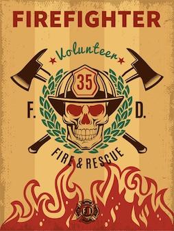 Poster vintage di vigile del fuoco