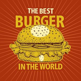 Poster vintage hamburger fast food.