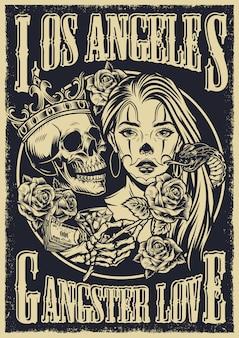 Poster vintage in stile tatuaggio monocromatico chicano