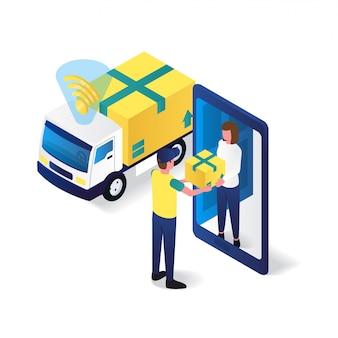 Postino ad un'illustrazione isometrica piana 3d di servizio di consegna del ricevitore