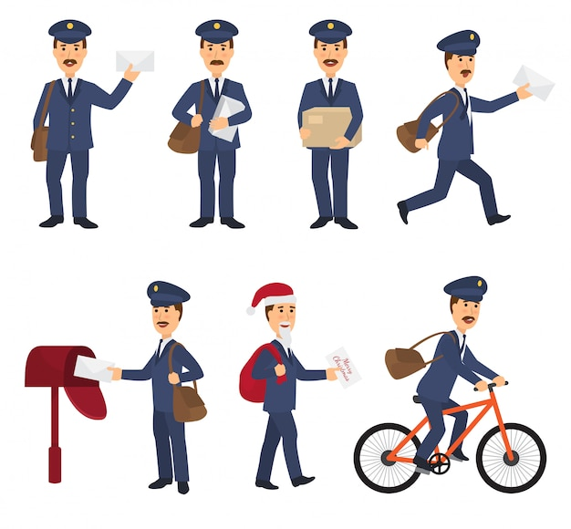 Postino vettore postino consegna mail in postbox o mailbox e post carattere trasporta lettere spedite in letterbox illustrazione imposta il servizio di consegna postale isolato su uno spazio bianco