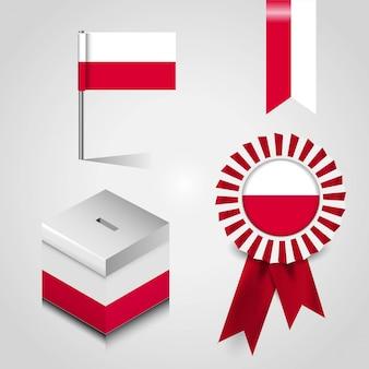 Posto della bandiera di paese della polonia sulla scatola di voto