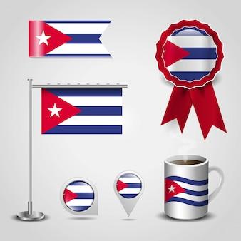 Posto della bandierina del paese della cuba sull'insegna del distintivo del perno della mappa, dell'asta d'acciaio e del nastro
