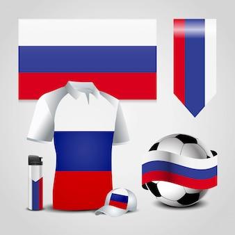 Posto della bandierina del paese della russia su t-shirt, accendino, pallone da calcio, calcio e cappello sportivo