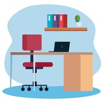 Posto di lavoro con scrivania e computer