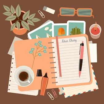 Posto di lavoro con un diario personale. pianificazione e organizzazione personale