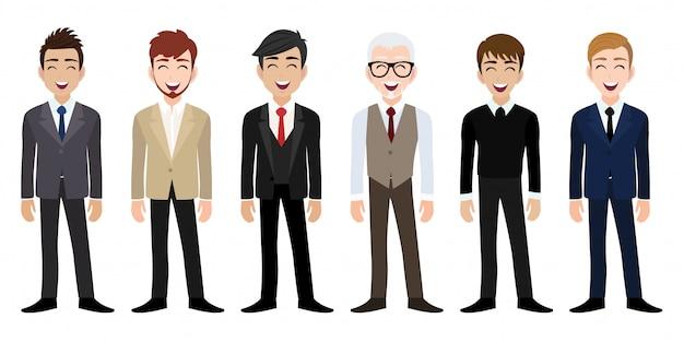 Posto di lavoro felice con il personaggio dei cartoni animati sorridente degli uomini in vestiti dell'ufficio