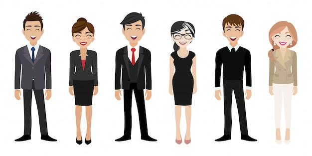 Posto di lavoro felice con il personaggio dei cartoni animati sorridente delle donne e degli uomini in vestiti dell'ufficio
