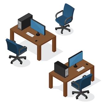 Posto di lavoro isometrico con il computer