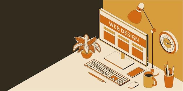Posto di lavoro isometrico in studio di web design con computer, smartphone, orologio e lampada.