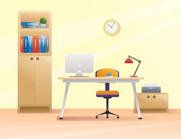 Posto di lavoro, ufficio in stile piatto