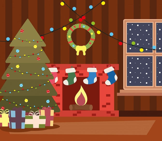 Posto felice della casa di natale di mery con la scena dell'albero e dei regali
