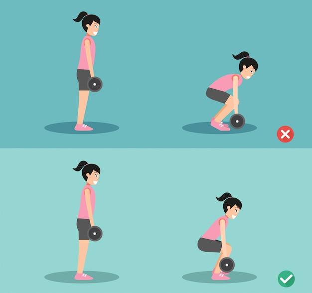 Postura storta e sbagliata della donna