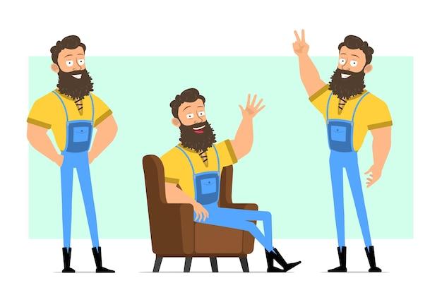 Posture di boscaiolo barbuto forte divertente del fumetto