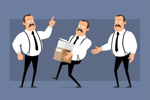 Posture divertenti di lavoratore di ufficio del fumetto isolate sull'azzurro