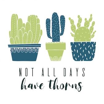 Pot di cactus cartolina e succulento in stile schizzo