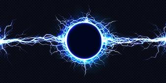 Potente scarica elettrica circolare che colpisce da un lato all'altro