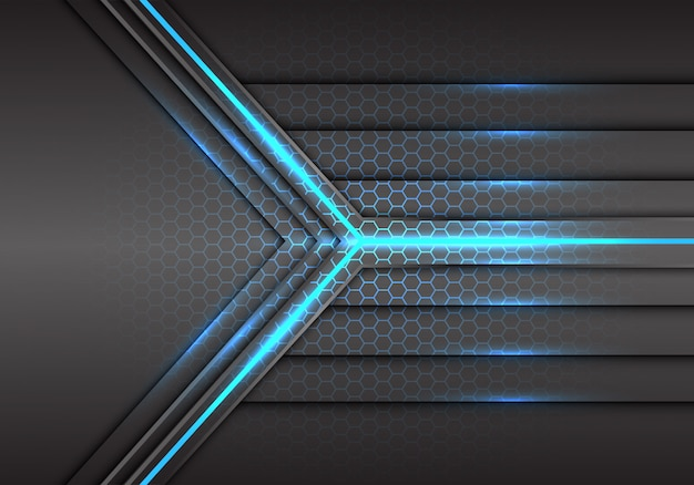 Potenza del raggio laser a luce blu con sfondo a maglia esagonale.