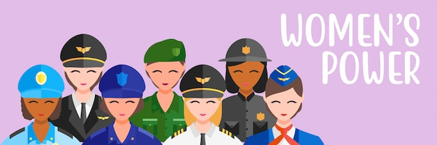 Potenza di ragazza di lavoro di professione di donne di illustrazione di vettore