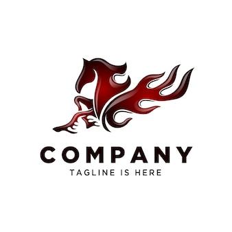 Potenza fire tribal pegasus logo