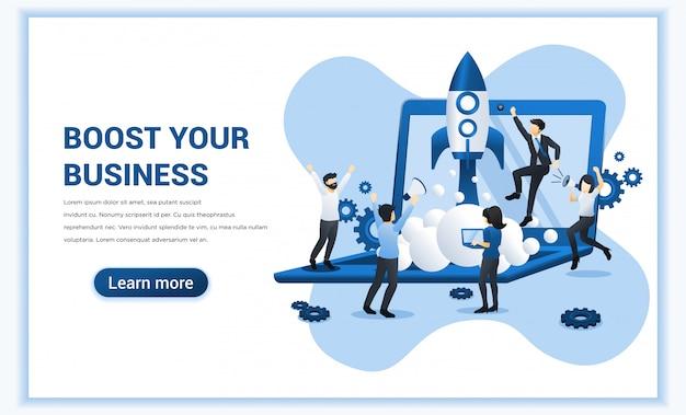 Potenzia il tuo concetto di business con le persone che lavorano al lancio di un razzo.