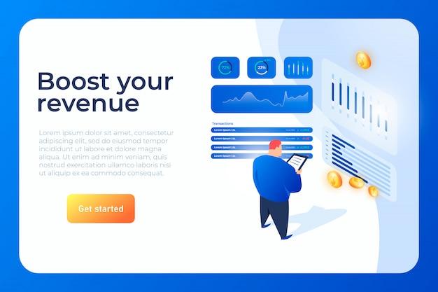 Potenzia il tuo sito web isometrico delle entrate