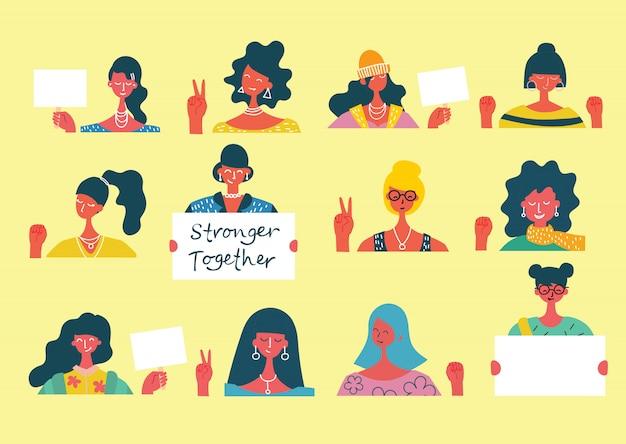 Potere delle ragazze. concetto femminile e design di empowerment della donna per i banner. gruppo di giovani attivisti di donne di moda in piedi insieme e tenendo la bandiera in bianco.