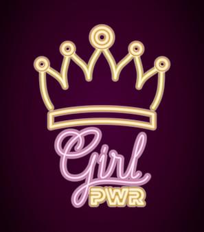 Potere femminile con luce al neon e corona regina