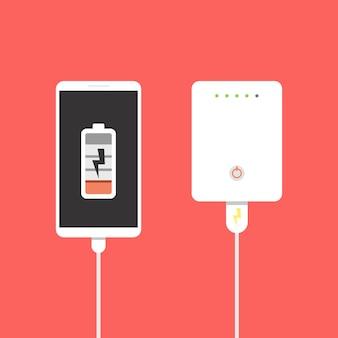 Power bank collegato allo smartphone tramite cavo usb