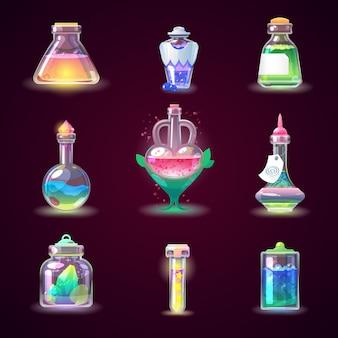 Pozione magica del gioco della bottiglia magica nella bevanda di vetro o liquida del veleno dell'alchimia o dell'illustrazione di chimica